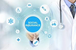 Doctor hand touching SOCIAL INSURANCE sign on virtual screen
